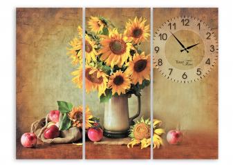06-414 Часы настенные на холсте Подсолнух 60*45см