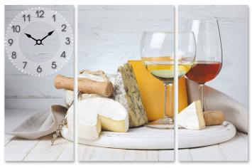 06-500 Часы настенные на холсте Белое вино 68*45см