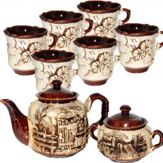 50102 Набор чайный 8 предметов (Чайник1,15л, сахарница420мл,6 чашек340мл) Скиф