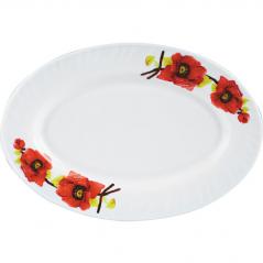 30063 Блюдо овал 14 Красный мак 0994 (Стеклокерам.)