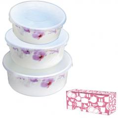 30053 Набор салатников с крышкой 3шт (7.5 6.5 5.5) Розовая орхидея 61099