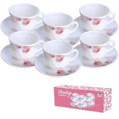 30055 Набор чайный 12 пр. (чашка-190мл, блюдце-14см) Розовая орхидея 61099