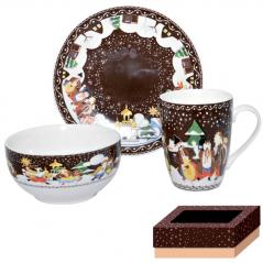 1597 Набор для завтрака 3 пр (тарелка,чашка ,пиала)  Наши традиции/Рождественская ночь