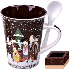 20603 Чашка с ложкой 350 мл Наши традиции/Рождественская ночь