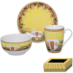 1597 Набор для завтрака 3 пр (тарелка,чашка ,пиала)  Наши традиции/Хатынка