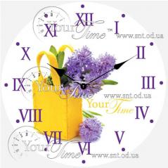 01-372 Часы настенные стекло/круглая. 28 см Цветы
