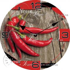 01-116 Часы настен. серия Кухня Перец Чили стекло/кругл. 28см