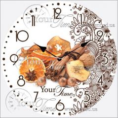 01-341 Часы настенные стекло/кругл. 28 см Специи