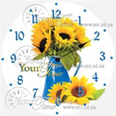 01-369 Часы настенные стекло/круглая. 28 см Цветы