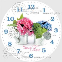 01-366 Часы настенные стекло/круглая. 28 см Цветы