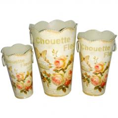 555-032-2 Декоративная металлическая ваза Чайная роза 14*23см