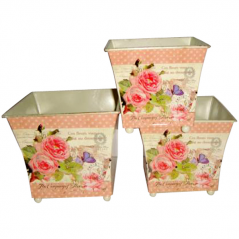 555-035-1 Кашпо квадратное металлическое Розовые мечты 15x14cm
