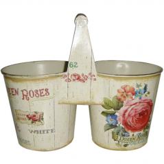 555-042 Двойное металлическое кашпо Розовая роза 24x12x12-20cm