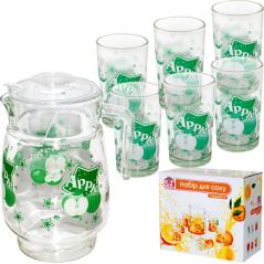 904 Набор для сока 7 эл. ( Кувшин 1,77л +6 стаканов 190мл) 3 Зелёное яблоко - new