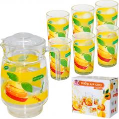 904 Набор для сока 7 эл. (Кувшин 1,77л +6 стаканов 190мл) 5 Апельсиновый фреш