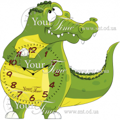 05-215 Часы настенные Крокодил детские МДФ 33 * 4,5 * 33см