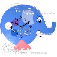 05-206 Часы настенные Слон голубой детские МДФ 33,5 * 4,5 * 27,5см