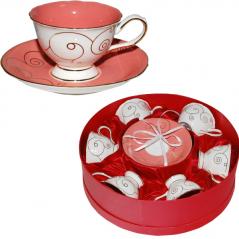 1710 Сервиз чайный 12пр. 220мл Розовый коралл