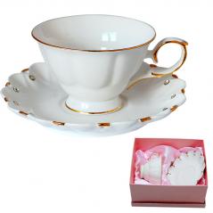 2330 Чашка с блюдцем Лада с кристаллами (чашка-240мл, блюдце-16,5см)