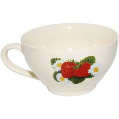 50196 Чашка чайная белая с деколью 380 мл