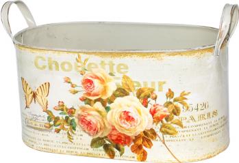 555-053-1 Кашпо круглое металлическое с ручками  Чайная роза 30,5х16х15см
