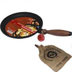 99001 Сковорода чугунная блинная с деревянной ручкой 24см,h-2,5см