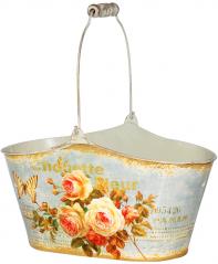 555-049-2 Кашпо овальное металлическое  Чайная роза 26х12,5х13,5см