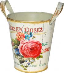 555-045-2 Кашпо круглое металлическое с ручками Розовая роза 15x16,5cm