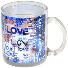 930 Чашка стеклянная 325 мл с рисунком Любовь