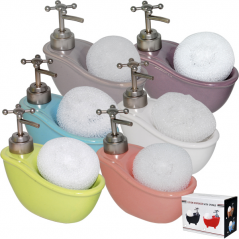 888-066 Диспенсер для мыла с губкой Ванночка микс2 330мл 14*15*7см