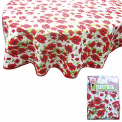 93204 tablecloth round d-150cm, cotton Red Poppy