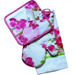93 205 Set kitchens. 3pr. (Glove-18 * 30cm, stand for burning 20 * 20cm, towel-38 * 63sm) Cotton Orchid