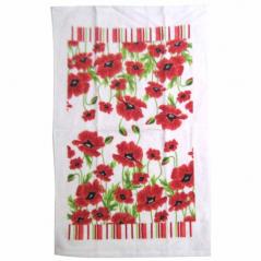 93 208 3pc set kitchen towels. 38 * 63sm, cotton velor Red Poppy