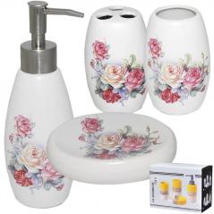 888-039 Набор аксессуаров для ванной комнаты <a href='http://snt.od.ua/ru/poisk.html?q=Розы' />Розы</a> ,4пр.