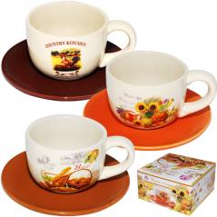 3390-4 Чашка с блюдцем Кантри <a href='http://snt.od.ua/ru/poisk.html?q=Микс' />Микс</a> (чашка  240 мл, блюдце 14 см)