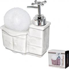 888-076 Диспенсер для мыла с губкой Прованс 350мл 15*13*6см