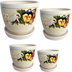 647-007 Violet flower pots set (4 pieces)