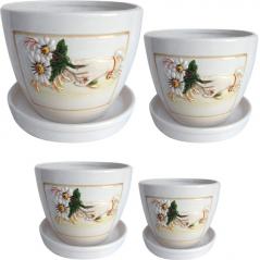 647-008 Chamomile flower pots set (4 pieces)