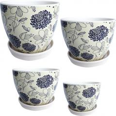 647-004 Set of flower pots flowers (4pcs) 19*15,5 15*13 12,5*10,5 9,5*8 cm