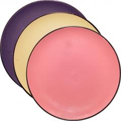 3021-3 Тарелка 8 3 цвета <a href='http://snt.od.ua/ru/poisk.html?q=Микс' />Микс</a> коричневый ободок