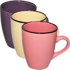 4163-3 Чашка 400 мл 3 цвета Микс коричневый ободок