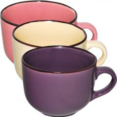 4168-3 Чашка 540 мл 3 цвета <a href='http://snt.od.ua/ru/poisk.html?q=Микс' />Микс</a> коричневый ободок