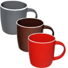 4162-4 Чашка 380 мл 3 цвета Микс белый ободок