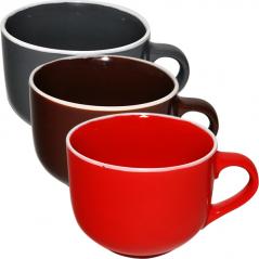 4168-4 Чашка 540 мл 3 цвета Микс белый ободок