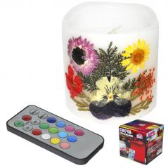 96000 Свеча-светильник 7,5 х 7,5 см Гербарий меняющая цвета на пульте