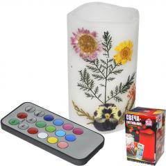 96002 Свеча-светильник 7,5х 12,5 см Гербарий меняющая цвета на пульте