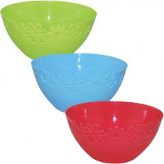 90813 Salad bowl carved, 29 * 13.5 cm / 6.2 liters, 3 colors Mix