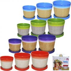 90515 pots set 3pc 17 * 17 * 15cm / 14 * 14 * 12cm / 12 * 12 * 10cm Colour Mix 4 count