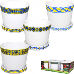 90521 Pot  17 * 17 * 15 cm, 4 col. Mix Embroidery yellow and blue