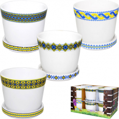 90522 Pot 12  * 12 * 10 cm, 4 col. Mix Embroidery yellow and blue